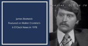 james bostwick featured on walter cronkite's 6 o'clock news